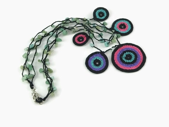 Crochet Necklace Bold Colorful Statement Motif Crochet Circle Necklace – Stone Bead Crochet – Stacked – Layered – Christmas – Holiday – Gift