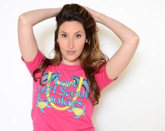 "Vintage 80's ""I Love Girl Scout Cookies"" Hawaiian Cropped Tee Sz XS"