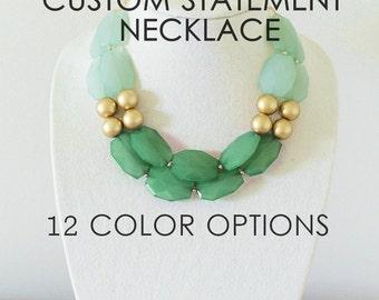 Custom Statement Necklace, Chunky Necklace, Colorful Beaded Necklace, Custom Bridesmaid Necklace