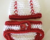 Baby Baseball Outfit, Baseball Costume, Baby Costume, Baby Boy Hat Diaper Cover, Newborn Baseball Set, Coming Home Outfit, Crochet
