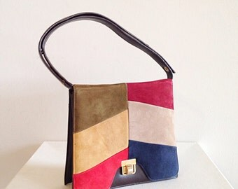 Vintage 1970s Suede Color Block Boho Retro Purse Handbag Shoulderbag Bag