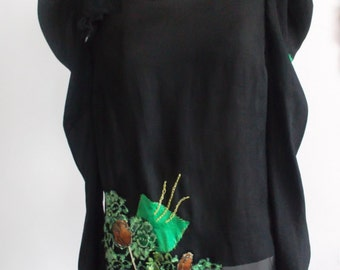 Upcycled Black Blouse with flower detail