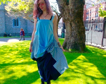 Upcycled light and dark Blue striped dress