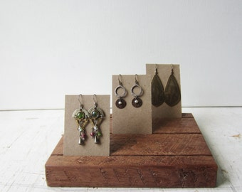 Earring Jewerly Card Holder - Rough Cut Walnut - Jewelry Card Display Wood Base  - Quantities Ready to Ship