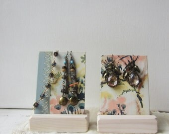 Pair Earring / Bracelet Displays - Pastel Watercolor Floral Summer Display - Recycled Vintage Book Jewelry Display - Ready to Ship