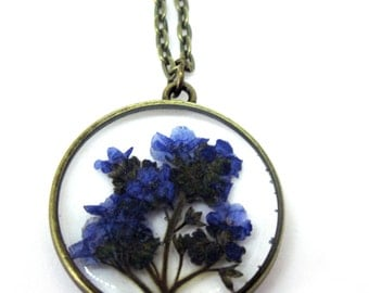 Forget me Not Pendant Necklace - Real pressed flowers encased in resin - Resin Jewelry - Pressed Flower Jewelry - Open Back Resin Pendant