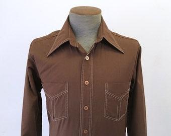 1970s Men's Disco Era JCPenney Shirt Vintage Dark Brown Polyester & Cotton Long Sleeve Shirt - Size SMALL