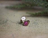 Alices Adventures in Wonderland, Adjustable Ring, Jewelry, Book, Quote, Classic Literature, Literary, Bookish, Faux Druzy, Books, Book Page