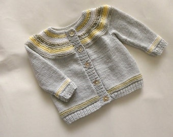 Grey handknitted baby cardigan | boy or girl handknit fit to 4 months | gray baby sweater with stripes