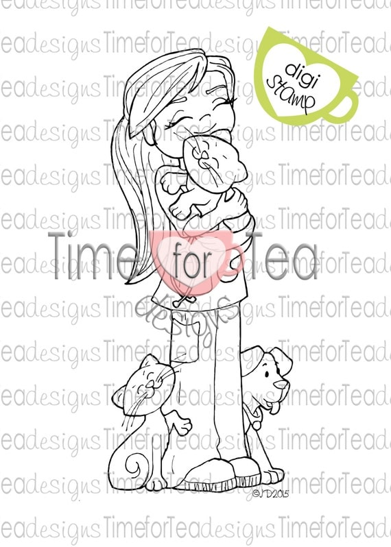 Time For Tea Designs Vet Girl Digi Stamp