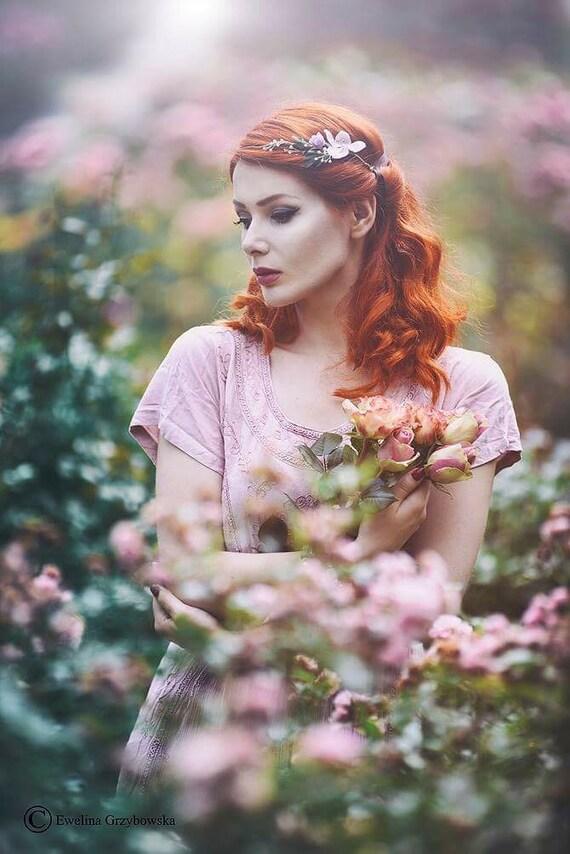 Floral Headband, Floral Hair Vine, Bridal Headpiece,Bridal Wreath, Hair Flowers, Wedding Accessories,