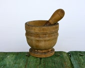 Italian wooden pestle and mortar