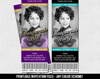 MASQUERADE TICKET INVITATIONS Birthday Party Ball (print your own) Any Color Scheme - Printable Files - Mardi Gras, Sweet 16, Quinceanera