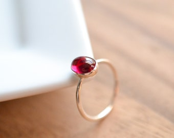 Sterling Silver Ruby Ring // Lab Created Ruby Stacking Ring // July Birthstone Ring // Ruby Cocktail Ring // Silver Ruby Stacking Ring
