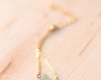 Raw Aquamarine and Gold Necklace - March Birthstone Necklace - Aquamarine Necklace
