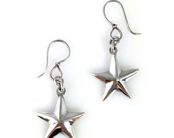 Silver Star Earrings hand made  star design