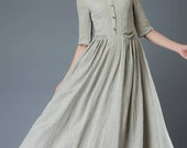 Casual Linen Dress - Pale Gray Everyday Comfortable Fit & Flare Long Maxi Dress with Half Sleeves and Button Front (C815)