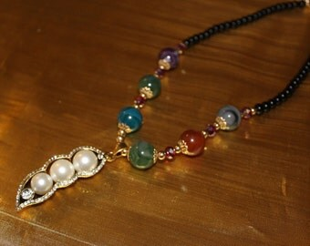 SALE! Dashing Exquisite Designer Multi Color Lucite Faux Pearl Rhinestone Necklace NP