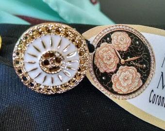 Nan Made repurposed Chanel enamel button ring. White Gold Adjustable