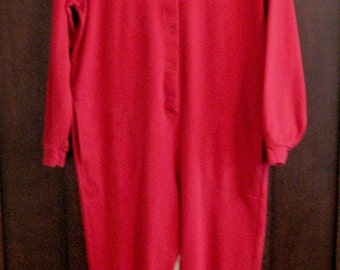 SALE - Red Long Johns - Woman's Small Union Suit- Drop Seat Pajamas - Vintage Red All in One Thermal Underwear - Valentine Pajamas Size 6-8