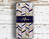 Gift for women , Tribal Iphone case with monogram , Arrows with Navy blue, pink chevron  (1426)