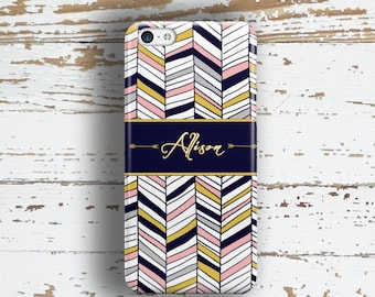 Gift for women , Tribal phone case monogram , Arrows with Navy blue, pink chevron Fits iPhone 4/4s 5/5s 6/6s 7 8 5c SE X and Plus  (1426)