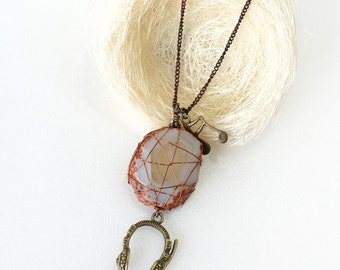 Wire Wrapped Raw Agate Stone Necklace with Headphone and Music Note Charm, Gift For Music Lover - ON SALE (WAS 38)