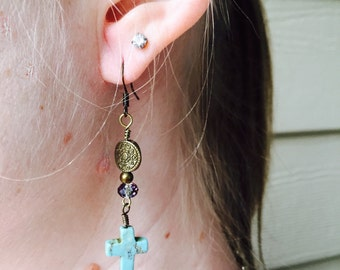 SOLD. Turquoise Cross Earrings - Dangle Earrings - Turquoise Earrings - Everyday Jewelry - Unique Gift for Her, Free Spirit, Bohemian, Boho