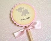 Pink Elephant It's a Girl Cupcake Toppers/Food Picks