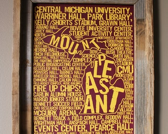 Mount Pleasant Michigan - Central Michigan University - Whimsical College Word Map (Maroon & Gold) - Unframed