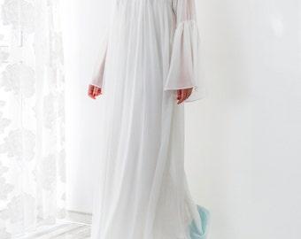 White Maxi Dress/ Chiffon dress/ Caftan/ Plus size dress/ White dress/ Summer dress/ Formal dress/ Party dress/ Long dress