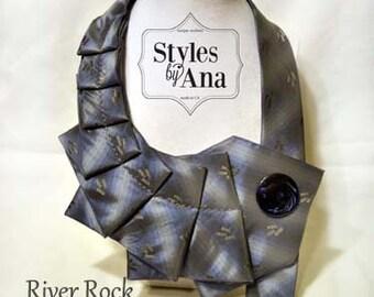 Necktie,Tie Collar Necklace,Unique,Repurposed Necktie,Art Accessory,Necktie Necklace,Button Art,Statement Necklace,Collar,Refashioned Tie