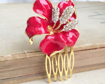 flower comb, spring wedding, summer wedding, beach wedding,flower,orchid hibiscus comb wedding poinsettia GOLD RED