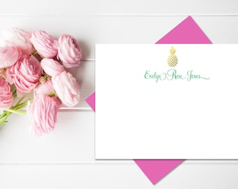 Personalized Stationery | Pineapple Stationery Faux Gold Foil | Personalized Stationary Set with Pineapple Monogram | Custom Stationary
