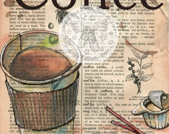 PRINT:  Coffee to Go Mixed Media Drawing on Antique Dictionary