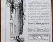 Burberry, 1918, vintage, ad, original, gowns, dresses, dress, gown, women, fashion, English, advertisement, free shipping, paper, ephemera
