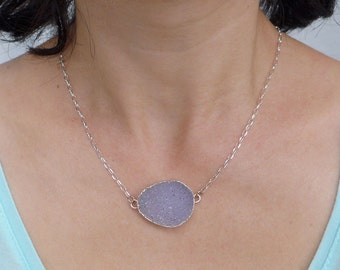 Druzy Necklace Silver, Druzy Choker, Druzy Pendant Necklace, Quartz Crystal Necklace, Natural Stone Necklace