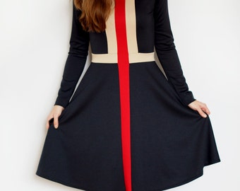 """Longsleeve jersey dress """"Red Line"""" with color blocking detail and flared skirt, black, beige, red, fit-and-flare, A line midi dress"""