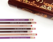 Sherlock Holmes Pencil Set — 7Imprinted Pencils, Engraved Pencils, High Functioning Sociopath, I have no friends, Elementary my Dear Watson