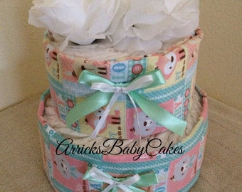 The Cute Little 2 Tier Baby Girl Diaper Cake