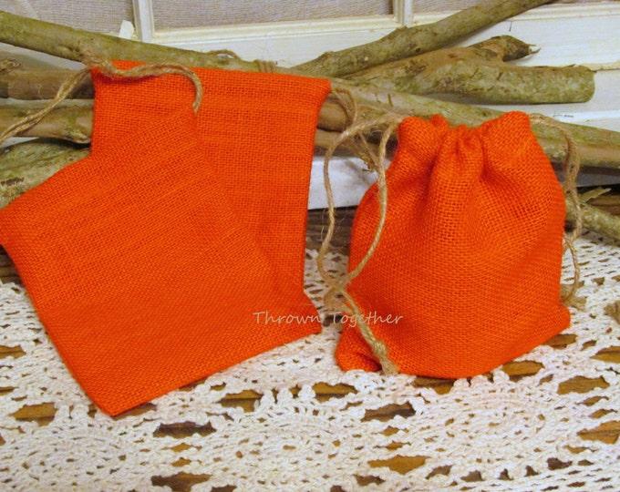 Orange Burlap Favor Bags, Halloween Party Favors, Rustic Favor Bags, Pumpkin Orange Party Favor Bags, Set of 5 Handmade Rustic Burlap Bags