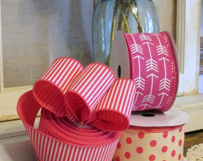 Hot Pink & White Stripe Ribbon, Wired Ribbon 5yds, Pink White Stripe, Hot Pink Stripe Ribbon, Wired Wreath Ribbon, 2.5inch Craft Ribbon