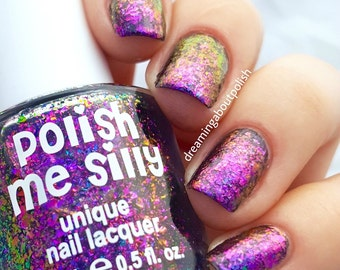 NEW-FLAKIE-Iris Topcoat (larger flakes)Multi-Color Shifting Polish: Custom-Blended Glitter Nail Polish/Indie Lacquer /Polish Me Silly