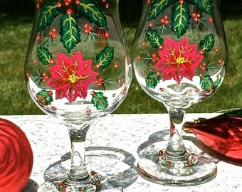 Hand Painted Christmas Glasses With Free Crystal Wine Glass Charms, Ready to Personalize, Christmas Glasses, Holiday Glasses, Christmas Gift