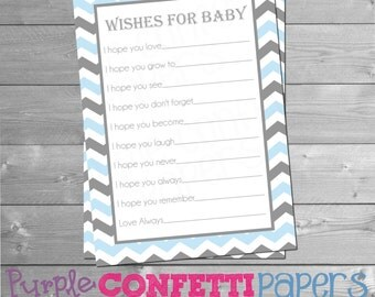 Wishes for Baby Cards, Advice Cards for Baby, Baby Shower Games, Baby Advice, Baby Shower Wishes Card, Boy, Blue Gray, Chevron, Printable