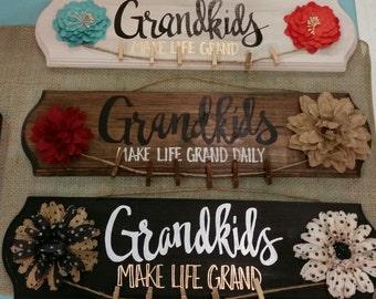 Gifts for Grandma Grandkids Sign Grandma Gift Grandmother Gifts Grandkids Make Life Grand Gifts from Grandkids Wood Sign Gift Idea