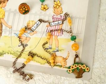 Upcycled vintage kitschy jewelry set / assemblage jewelry / vintage flower basket / flower jewelry set / vintage flowers / altered vintage