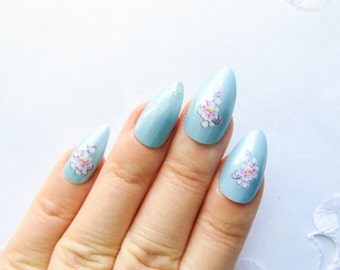Baby Blue w/ Pink Flowers Stiletto Nails, Fake Nails, False Nails, Acrylic Nails, Press on, Nails, Floral, Blue, Pink
