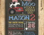 Farm birthday invitation - Farm invitation - Farm animal birthday invite - Barnyard party invitation - You print chalkboard birthday invite