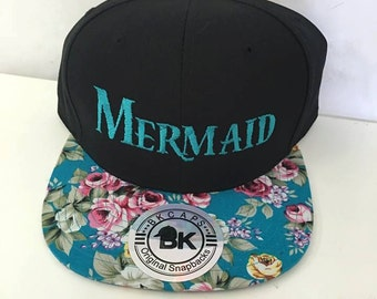 Custom Embroidery Mermaid Black Teal Floral Hat Snapback Rose Flower